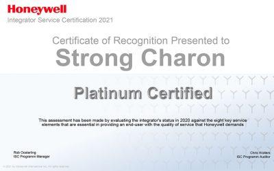 """Somos """"Platinum Certified"""" para sistemas de segurança da Honeywell"""